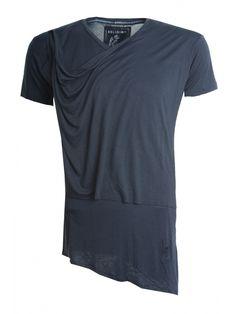 Religion Clothing Top Chalice Short Sleeve V Neck Drape Panel In Washed Black