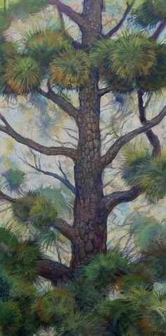 """""""Pine Tree Puffs"""" original tree painting on canvas 50"""" inches large wall art by me, Roger Seward."""