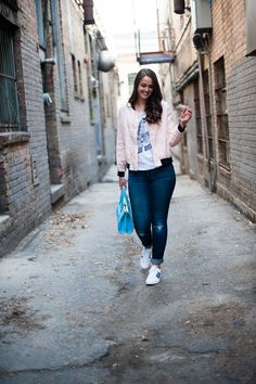 Pink bomber jacket perfect casual look