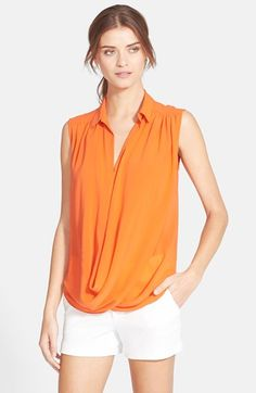 Alice + Olivia 'Kiersten' Draped Stretch Silk Shirt available at #Nordstrom