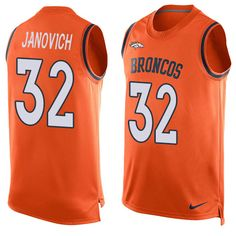 Men's Nike Denver Broncos #32 Andy Janovich Limited Orange Player Name & Number Tank Top NFL Jersey