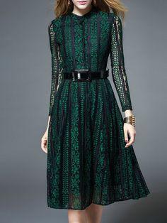 Green Guipure Lace Long Sleeve Midi Dress