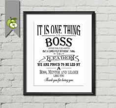 Boss appreciation day, boss gift, Boss week, thank you boss, Typographic art print, DIY printable, retirement gift, leaving gift, download