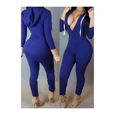 Rotita Blue Three Quarter Sleeve Hooded Collar Jumpsuits ($21) ❤ liked on Polyvore featuring blue