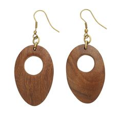 Wooden earrings. I'd like to see these inlaid with some turquois or other decorative material.