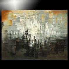 GICLEE of abstract painting ORIGINAL b&w art tan ooak Tatiana hand signed 3/100 #Abstract