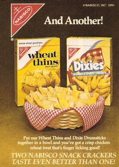 1980 Nabisco Dixies Snack Crackers. I loved Dixies!! They were shaped as cute little drumsticks!!