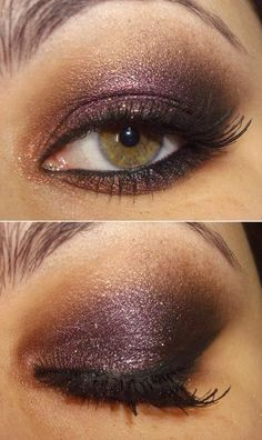 This dramatic, shimmery deep purple is a gorgeous color for a unique smoky eye. #prommakeup #makeup #prom