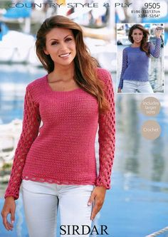 Crochet Sweater in Sirdar Country Style 4 Ply - 9505