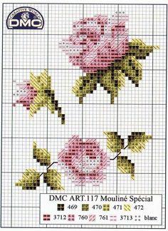 Gráfico-de-ponto-cruz-grátis-rosas-1 Rosas gráficos de Ponto cruz