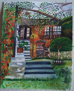 A casa encantada (pintura a aguarela)