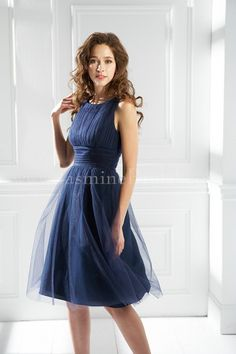 Bateau Empire Waist Pleated Tea Length Satin Navy Blue Bridesmaid Dresses  BD0244 Navy Blue Bridesmaid Dresses c81dc22b2234