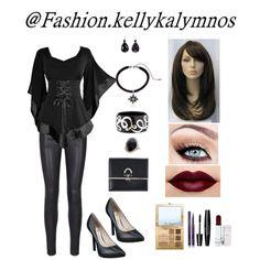 Fashion set stylish gothic created via Black Lashes, Alternative Outfits, Crystal Drop, Lipstick Colors, Gothic Fashion, Fashion Looks, Stylish, Shopping, Lip Colors