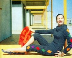 Model wearing a knit capri pant and sweater, 1950s.