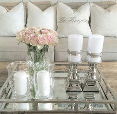 ♔ @enticemedear ♔ Table Decor Living Room, Living Room Grey, Decorating Coffee Tables, Living Room Inspiration, Tray Decor, Home Decor Accessories, Living Room Designs, Table Decorations, House Styles