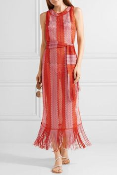 Missoni - Mare Fringed Metallic Crochet-knit Maxi Dress - Pink - IT