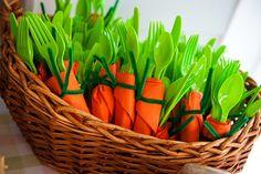 Carrot plastic utensils