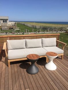 Beautiful views from a fun ‪#beachfront project we're working on with Erica Millar Design. Highlights include Gloster Furniture's Bell side tables that double as ice buckets!  We absolutely love to do house calls and assembly and delivery are always complimentary within the #Hamptons.  #hamptonschic #hamptonssummer2015 #thayersinstallations #seeyouonthebeach #ericamillardesign #glosterfurniture