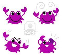 Cute pink crab set cartoon Illustration