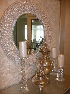 Round, beveled shell mirror for Ritz Carlton project with Sharee Decor, by Seashore-Chic.