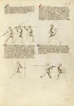 Combat with Sword, Staff, and Lance Artist/Maker(s): Fiore Furlan dei Liberi da Premariacco, author [Italian, about 1340/1350 - before 1450] Date: about 1410 Medium: Tempera colors, gold leaf, silver leaf, and ink on parchment Dimensions: Leaf: 27.9 x 20.6 cm (11 x 8 1/8 in.) Object Number: 83.MR.183.31 Department: Manuscripts