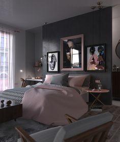 Daria Zinovatnaya on Behance Woman Bedroom, Master Bedroom, Bedroom Small, Bedroom Brown, Single Bedroom, Gold Bedroom, White Bedroom, Small Rooms, Master Suite