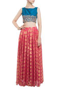 Hand Embellished Choli With Banarsi Lehnga by Aafrah. Shop now: http://www.onceuponatrunk.com/designers/aafrah #lehenga #red #blue #embroidery #ethnic #fashion #shopnow #onceuponatrunk #happyshopping