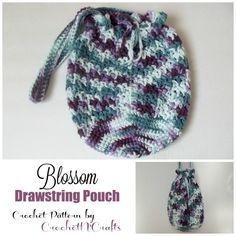 Blossom Drawstring Pouch by Rhelena of CrochetN'Crafts