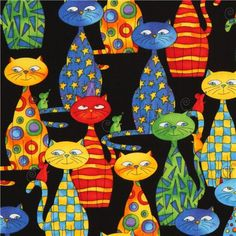 black cartoon cats fabric by Timeless Treasures USA