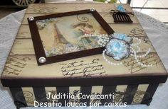 Desafio Loucas por caixa Decoupage Box, Decoupage Vintage, Cigar Box Art, Altered Cigar Boxes, Diy And Crafts, Arts And Crafts, Decorative Boxes, Shabby Chic, Scrap