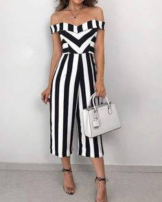 Shop Sweetheart Neck Striped Casual Jumpsuit right now, get great deals at Joyshoetique. Shop Sweetheart Neck Striped Casual Jumpsuit right now, get great deals at Joyshoetique. Jumpsuit Pink, Jumpsuit Outfit, Casual Jumpsuit, Jumpsuit With Sleeves, Elegant Jumpsuit, Spring Outfits, Trendy Outfits, Cute Outfits, Fashion Outfits