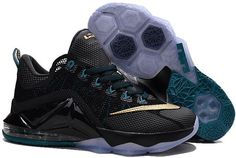 separation shoes f07d4 5ae2a Nike Lebron 12 Low Gold Black Grey Blue Gold Basketball Shoes, Kyrie  Basketball, Nike
