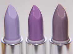 The lavender row: lipsticks in D'Lilac, Airborne Unicorn, and Chinchilla from Lime Crime.