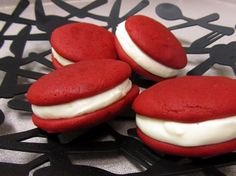 Red Velvet Whoopie Pies with delicious cream cheese filling!
