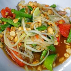 SOM TAM from THAILAND -- hot, sweet, salty, savory -- perfection! Uses green papaya, or you can use napa cabbage if you're desperate to slurp this fabulous and addictive dressing!