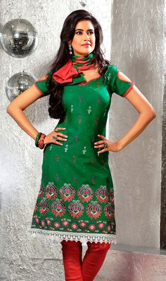 Green Cotton Embroidered Churidar Kameez Activate a funky twist to your looks with this green cotton embroidered churidar kameez. The multi and resham work seems to be chic and ideal for any party. #GreenChuridarKameezIndia #GeorgetteEmboideredChudidar