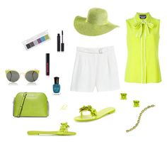 """Lime"" by dmiddleton ❤ liked on Polyvore featuring shu uemura, Sophia Webster, MICHAEL Michael Kors, MANGO, Boutique Moschino, Gioelli, Laura Munder, Deborah Lippmann and RetroSuperFuture"