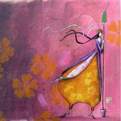 "Photo from album ""Gaelle Boissonnard"" on Yandex. Pretty Drawings, Art Drawings, Art Fantaisiste, Art Carte, Art Et Illustration, Art Moderne, Naive Art, Whimsical Art, Beautiful Paintings"