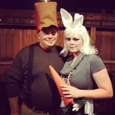 DIY Elmer Fudd and Bugs Bunny Halloween costumes