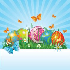 iCLIPART - Clip Art Illustration of Easter Eggs and Butterflies
