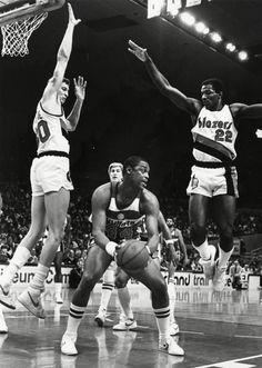 Trail Blazers vs. Bullets, Portland, OR, c. 1986Left to right: Sam Bowie, Rick Mahorn, Clyde DrexlerMax Gutierrez Collection, Org. Lot 506, Box 2,Folder 11, neg. # OrHi 98380