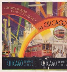 Century of Progress Chicago Surfac Lines Map Tour Info World's Fair 1933 | eBay