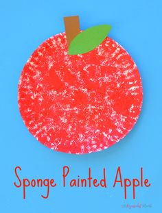 This sponge painted apple is a fun and simple fall kid craft johnny appleseed back to school preschool toddler paper plate letter A Preschool Art Projects, Fall Preschool, Daycare Crafts, Toddler Crafts, Toddler Art, Apple Preschool Crafts, Preschool Painting, Daycare Themes, Painting Activities