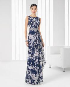 Vestido azul marino con estampado. Código: 9T267