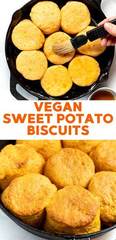 Dairy Free Sweet Potato Biscuits Super tasty vegan biscuits made with sweet potato puree. Tall, flaky and tender! Vegetarian Breakfast Recipes, Vegan Dessert Recipes, Delicious Vegan Recipes, Tasty, Vegan Sweet Potato Recipes, Vegan Meals, Sweet Potato Biscuits, Vegan Biscuits, Vegan Baking