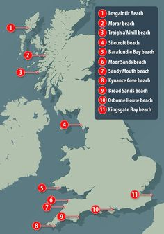"""""""Here is where you will find Britain's best beaches, and it could also help arrange how to include them all in a road trip"""" and what a road trip that would be!"""