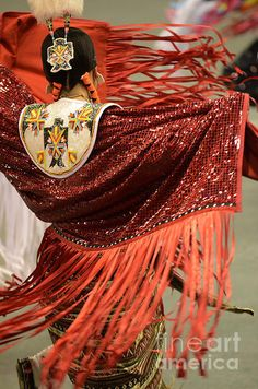 Pow Wow Lady In Red Photograph by Bob Christopher