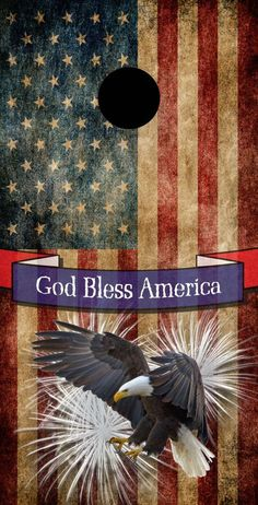 Bald Eagle Fireworks God Bless America by CornholeBoardsDOTus