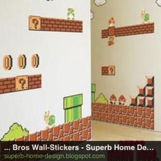 How cool would this be in my boys room to match their Mario sheets?! Neat-o wall decals