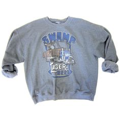 Vintage 80s SWAMP LAGER BEER Sweatshirt Hipster Grunge Dark Gray... (38 CAD) ❤ liked on Polyvore featuring tops, hoodies, sweatshirts, retro sweatshirts, 80s sweatshirt, slouchy sweatshirt, oversized grey sweatshirt and grey top